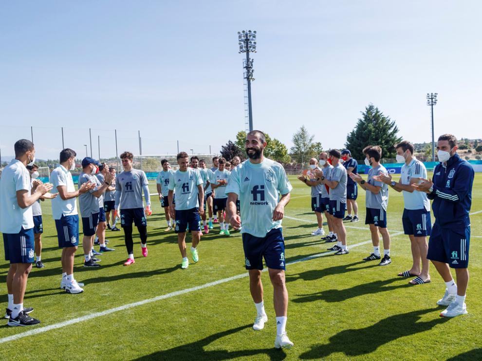 Despedida ayer a los jugadores de la burbuja paralela que han entrenado estos días en Madrid.