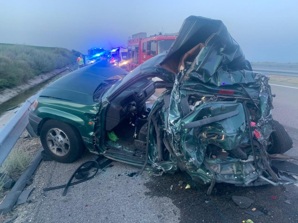 Estado que presentaba el vehículo todoterreno tras la colisión con el camión.