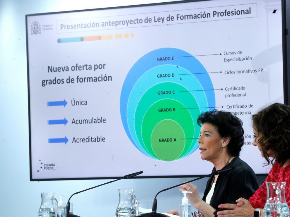 La ministra de Educación, Isabel Celaá, presentando la reforma. formación profesional