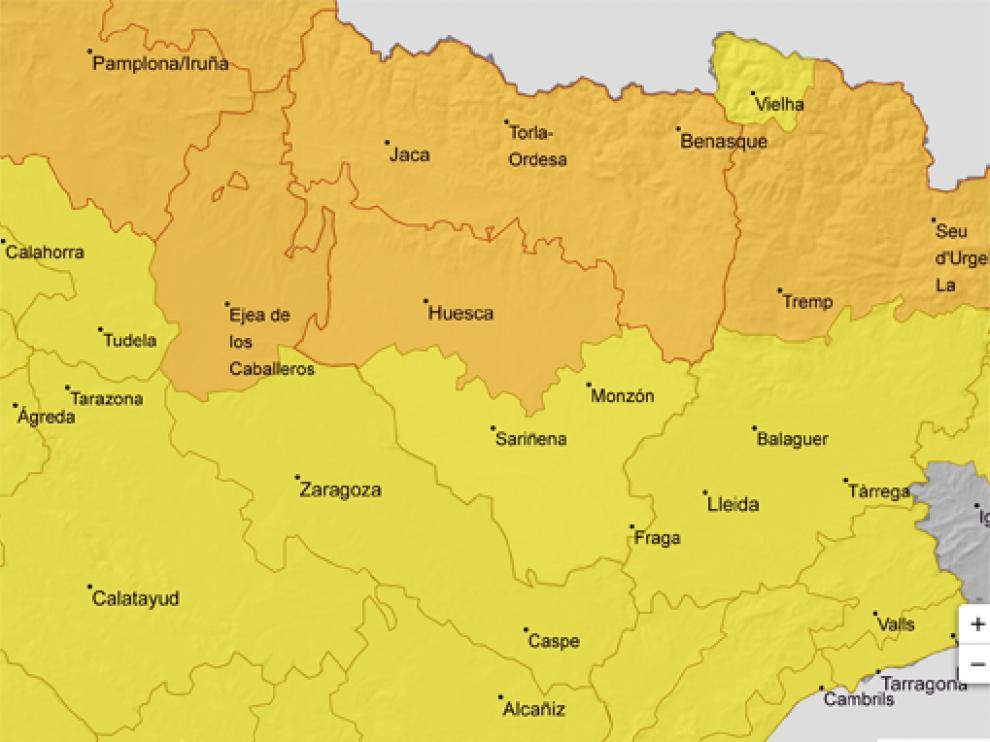 Alerta este jueves por granizo en todo Aragón