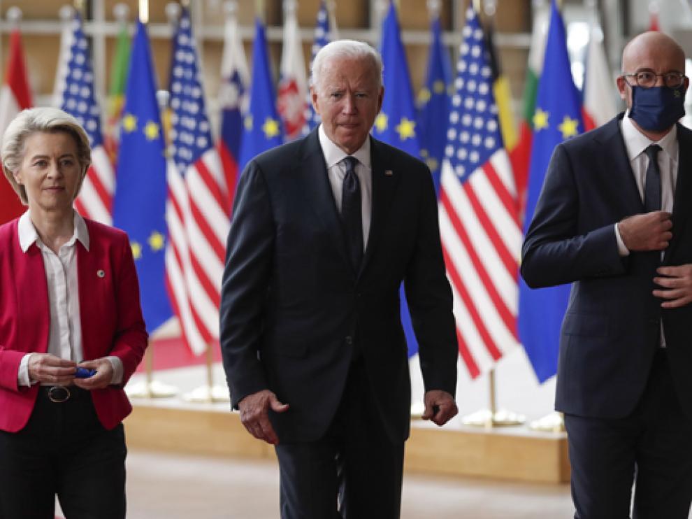 Biden, ayer en Bruselas junto a Ursula von der Leyen y Charles Michel.