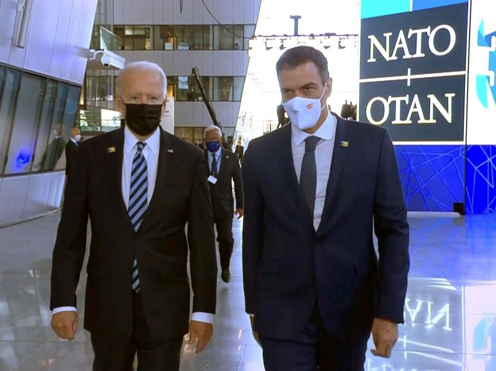 Joe Biden y Pedro Sánchez en la cumbre de la Otan