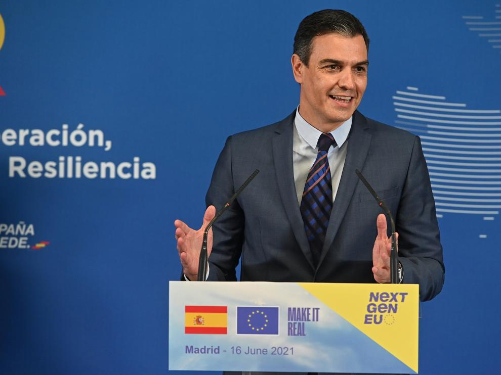 Sáchez este miércoles en rueda de prensa en Madrid.
