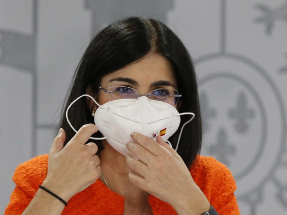 Carolina Darias, ministra de Sanidad, durante la rueda de prensa posterior al Consejo Interterritorial.