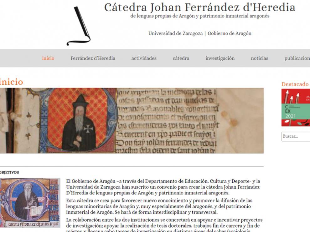 Captura de la web Cátedra Johan Ferrández d'Heredia