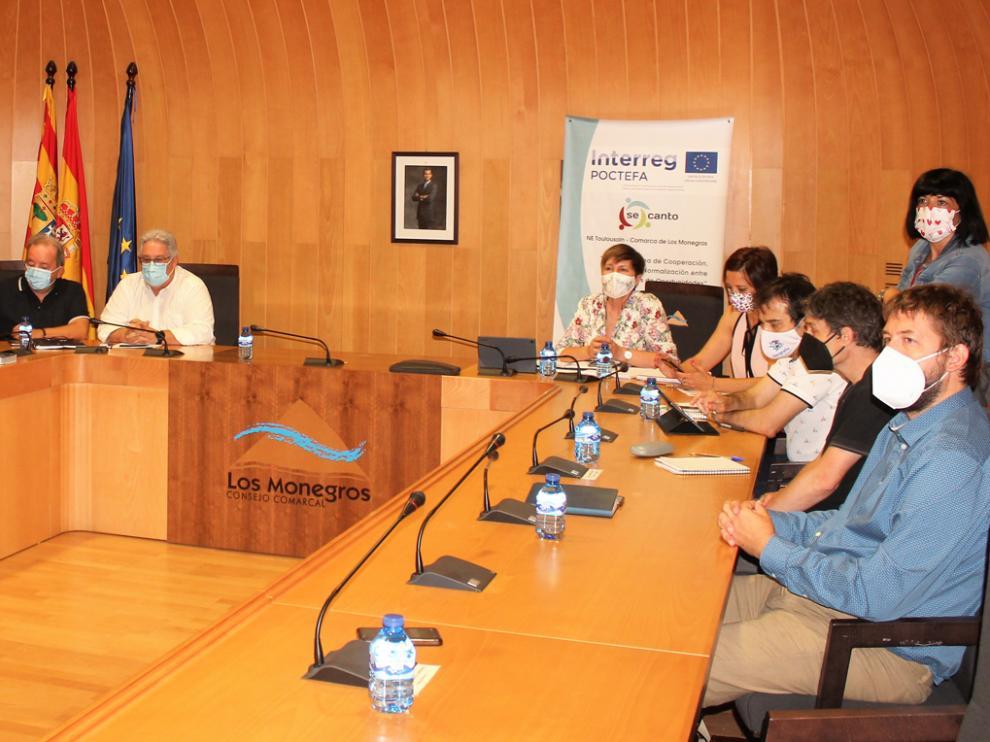 Encuentro de coordinación que tuvo lugar este jueves en formato de semi presencialidad en la sede comarcal de Los Monegros