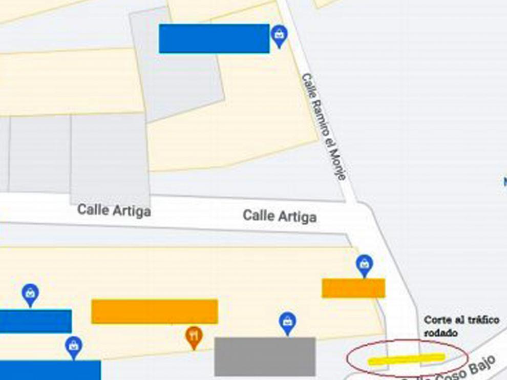 Zona que se verá afectada por el corte de tráfico