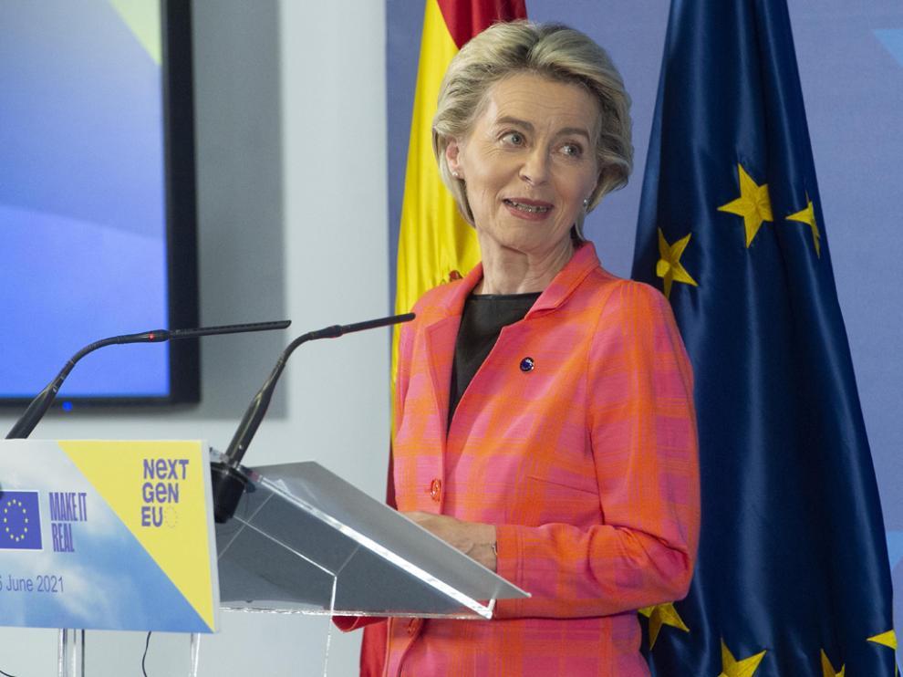 La presidenta de la Comisión Europea, Ursula von der Leyen durante su visita a Madrid este miércoles.