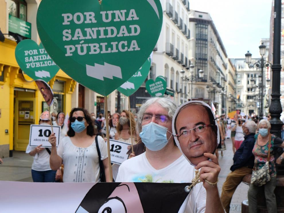 Participación en la manifestación celebrada este viernes en Zaragoza con motivo de la huelga de interinos