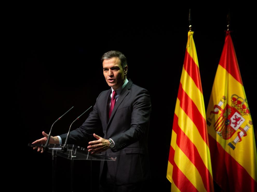 El presidente Sánchez durante su conferencia en el Liceu de Barcelona