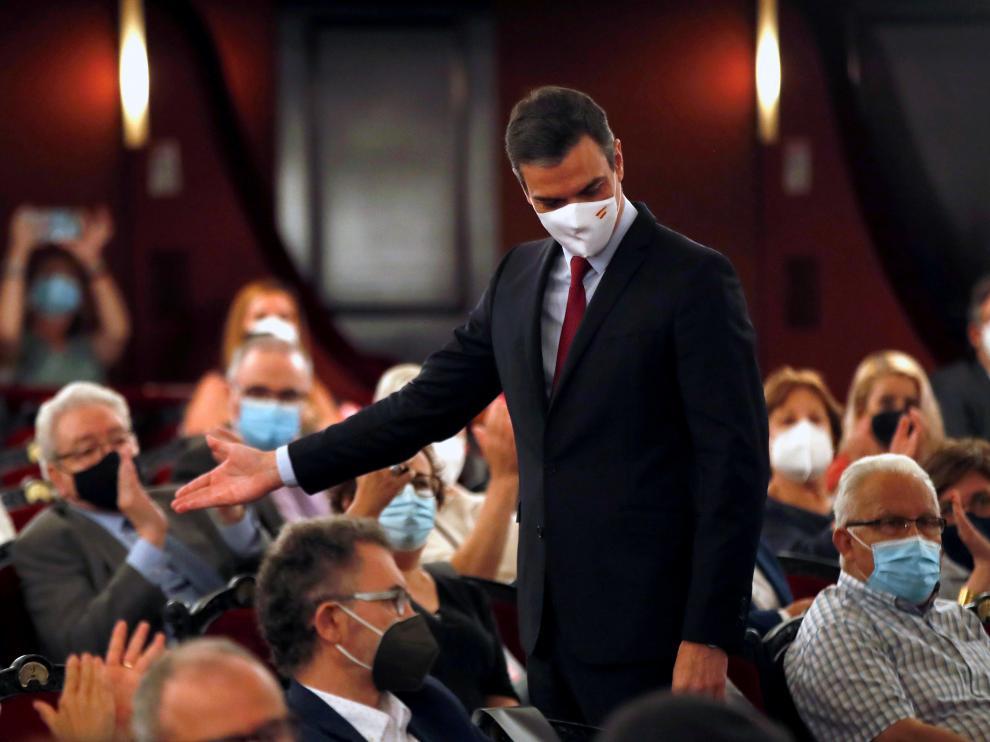 Conferencia de Pedro Sánchez ayer en Barcelona.