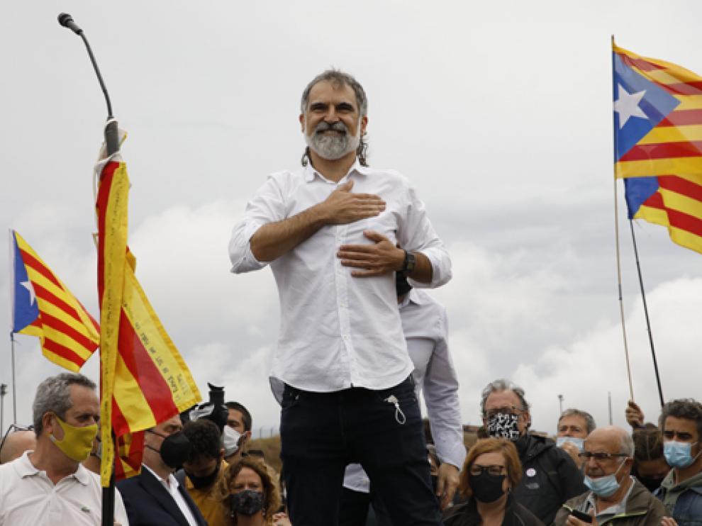 Jordi Cuixart, a la salida de la cárcel de Lledoners, un día después de ser indultado por el Gobierno de España