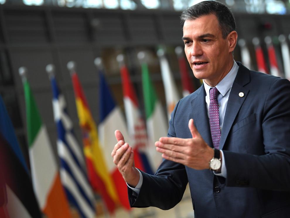 El presidente del Gobierno, Pedro  Sánchez, este jueves durante su intervención en Bruselas.