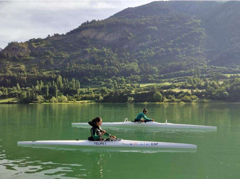 Inés Felipe e Higinio Rivero, durante un entrenamiento en Lanuza.