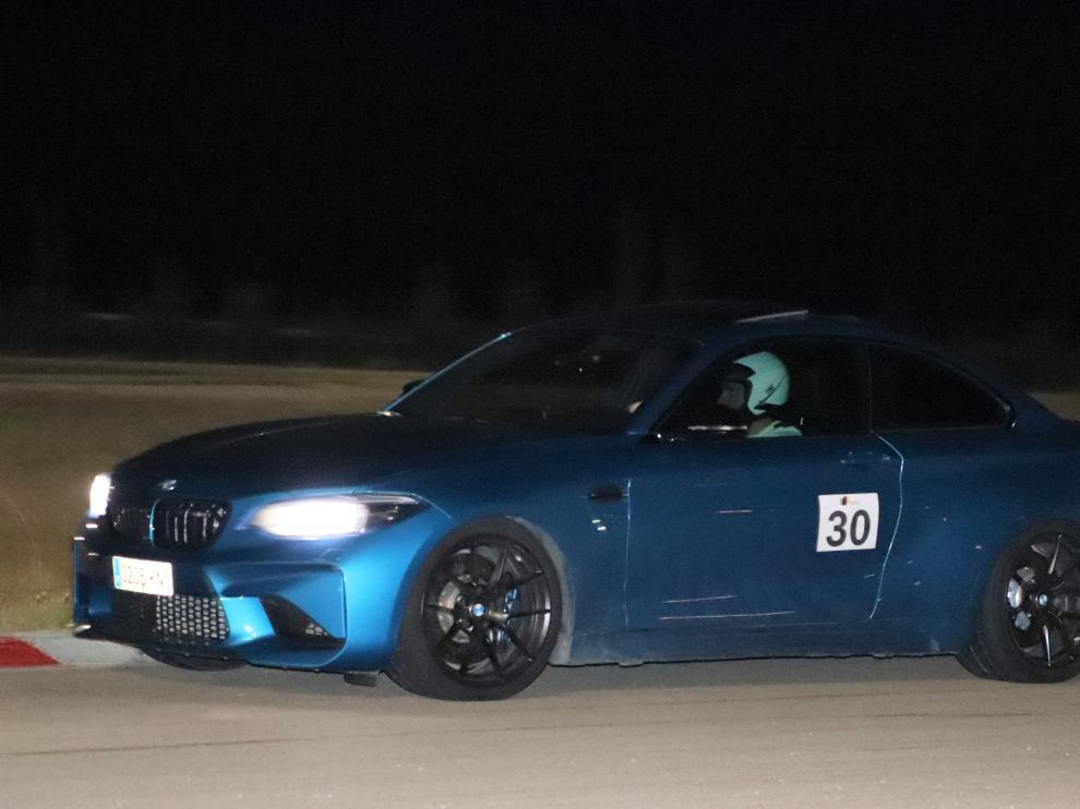 El piloto oscense, durante la prueba nocturna celebrada en Zuera.