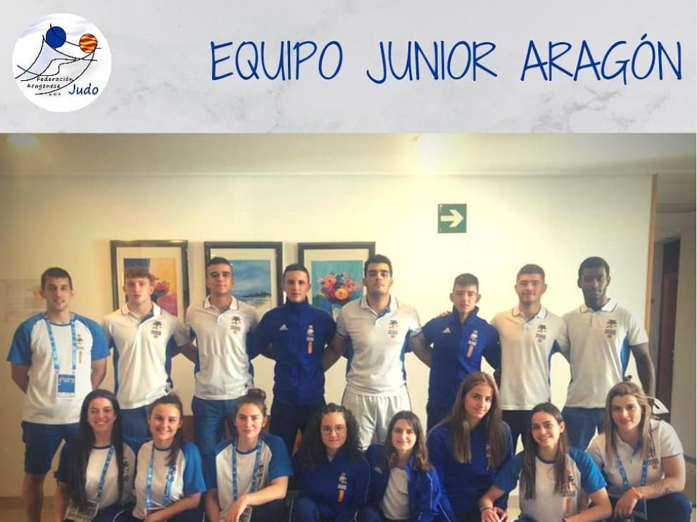 El equipo junior aragonés, con todos los judokas altoaragoneses