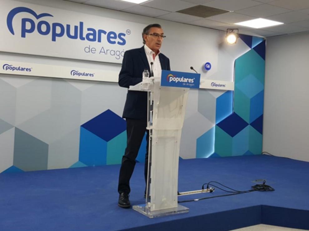 El Presidente del PP en Aragón, durante el balance del curso político