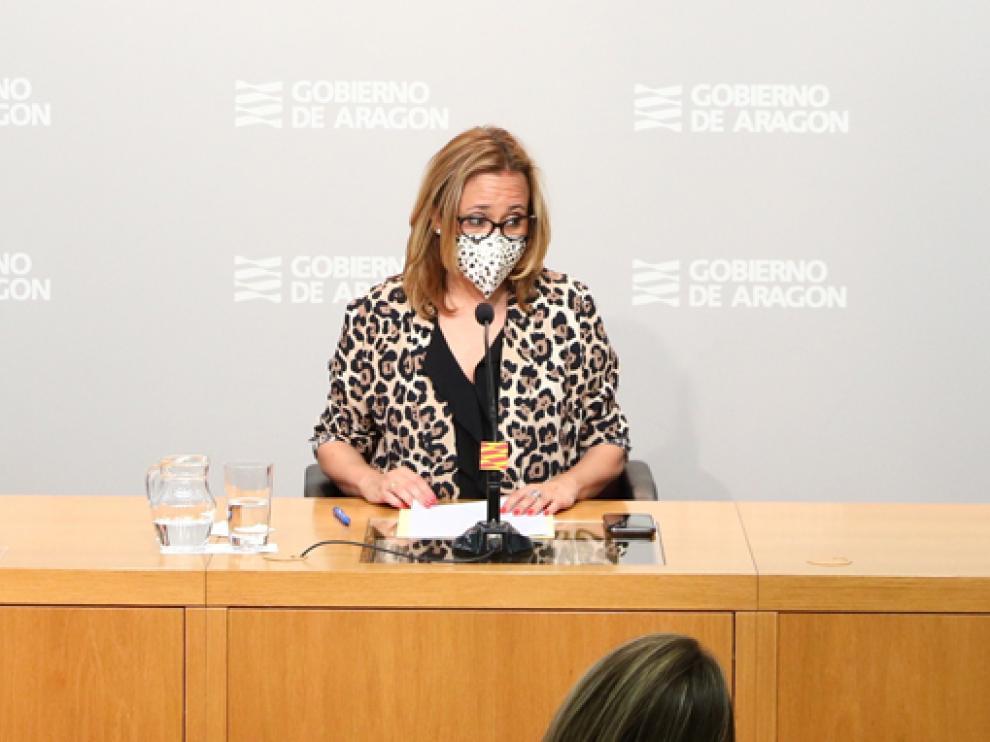 Mayte Pérez, en la rueda de prensa posterior al Consejo de Gobierno