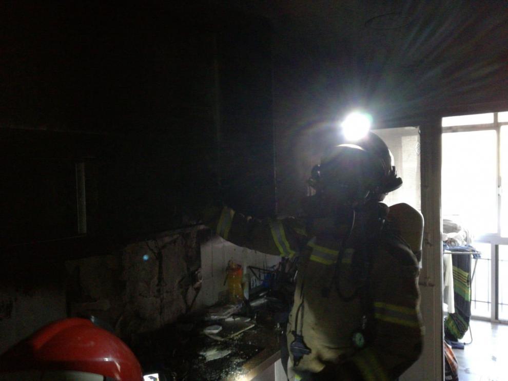 Incendio en una vivienda de Alcañiz