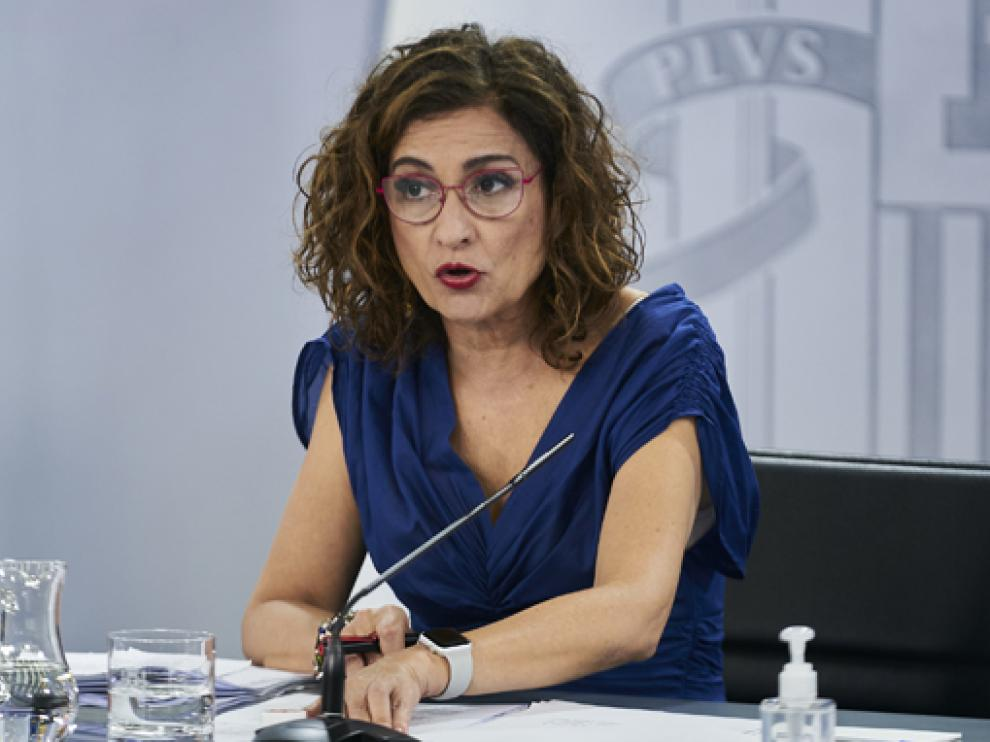 La ministra portavoz, María Jesús Montero, este martes en la rueda de prensa tras el Consejo de Ministros donde se anunció la ley.