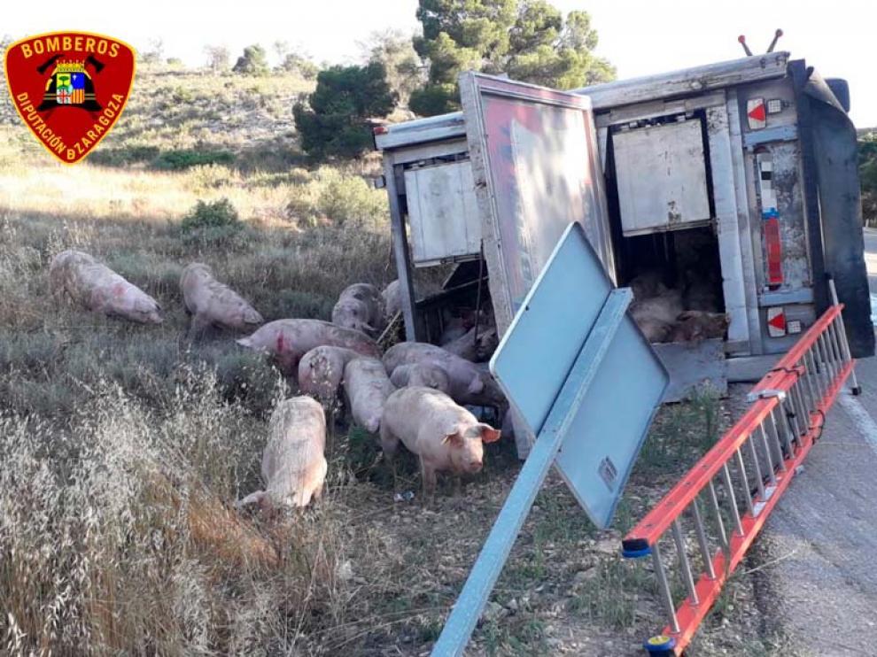 Estado en el que quedó el camión de cerdos