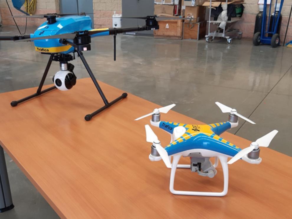 Imagen de los drones de la Sección de Tráfico de Zaragoza