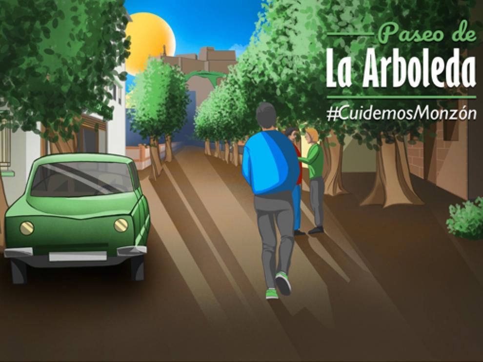 Imagen del mural realizado por Aleix Vila con una mirada al pasado del paseo de la Arboleda, de Monzón.