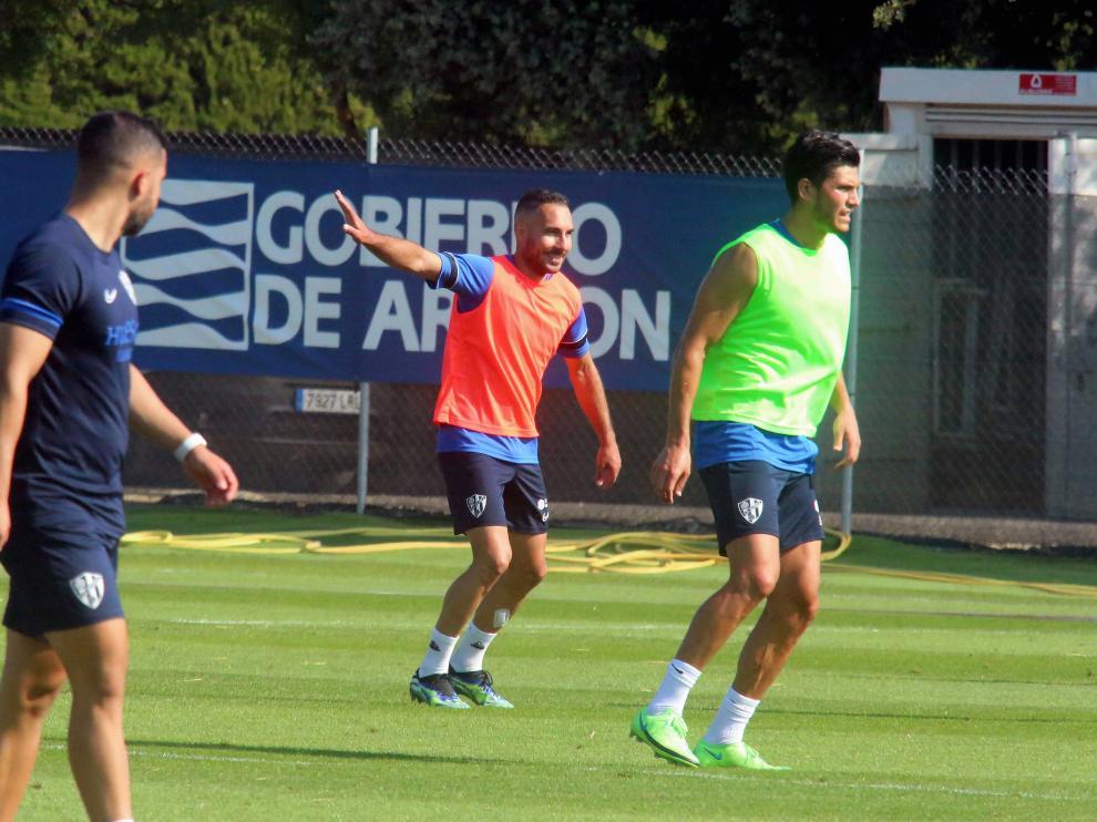 David Ferreiro, durante el entrenamiento de este sábado.