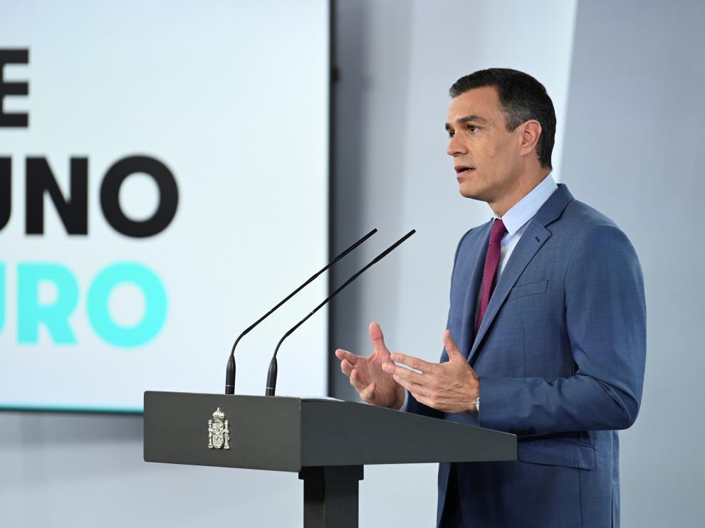 Pedro Sánchez en su comparecencia.