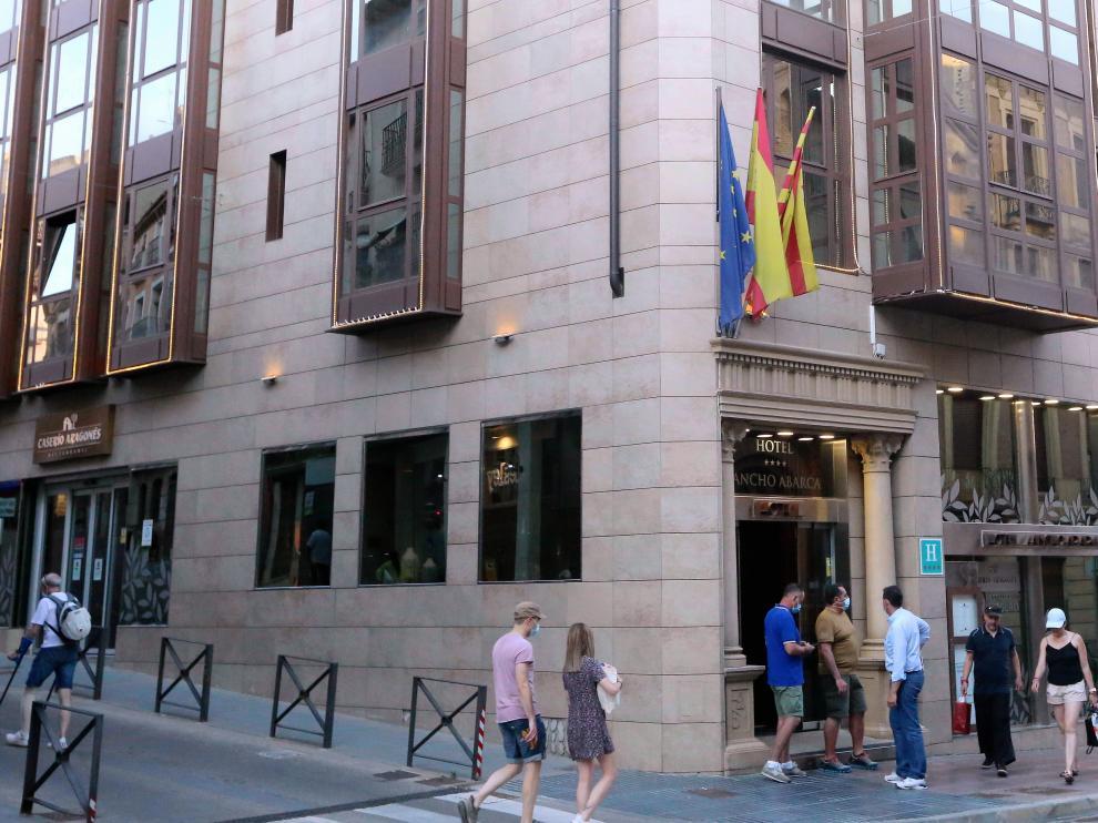 Exterior del Hotel Sancho Abarca este sábado.  hoteles  10 - 7 - 21    foto pablo segura