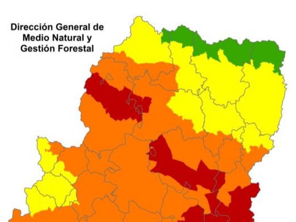 Mapa de alertas de incendios del 11 de julio
