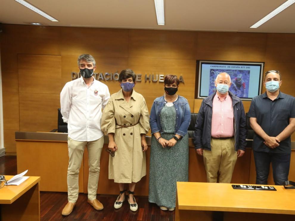 Ascaso, Arruebo, Avellanas, Uriz y Marquina, durante la presentación