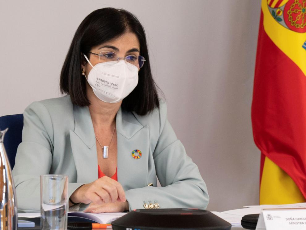 Carolina Darias, ministra de Sanidad, durante la rueda de prensa celebrada en la jornada del miércoles.