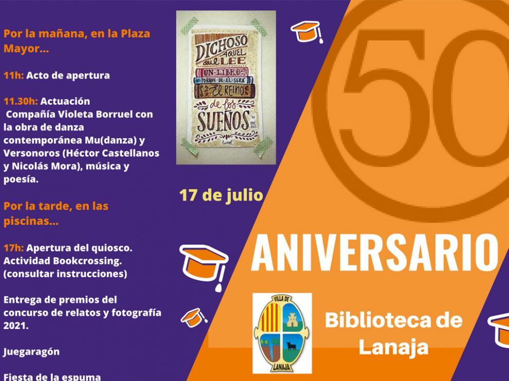 Cartel del aniversario de la biblioteca municipal de Lanaja