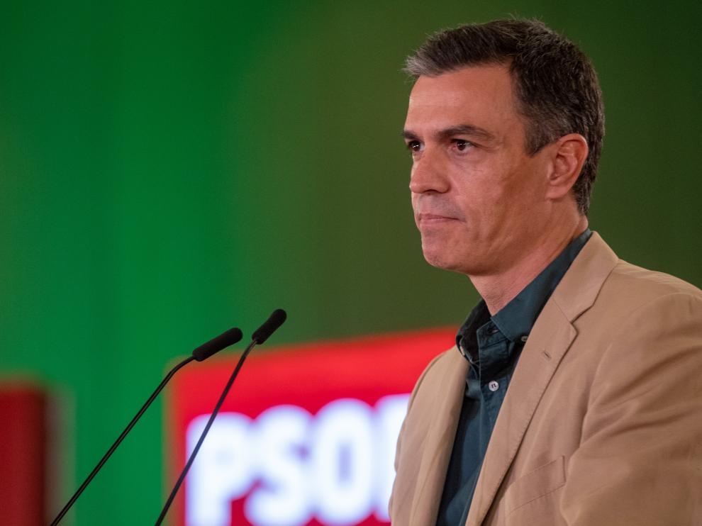 El presidente del Gobierno, Pedro Sánchez, durante su intervención en un acto de partido.