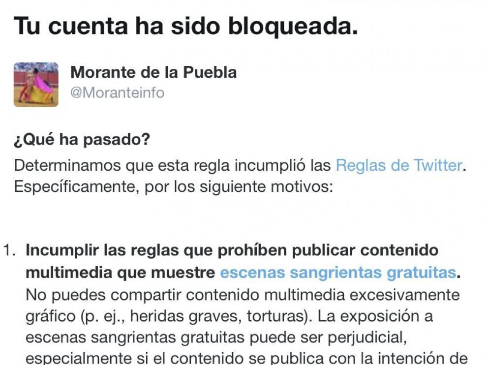 """Twitter bloquea la cuenta de """"Morante de la Puebla""""."""
