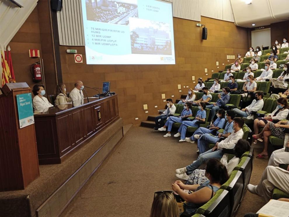 Acto de bienvenida a los residentes en el Hospital Miguel Servet de Zaragoza