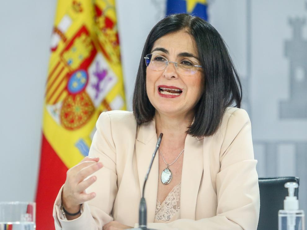Carolina Darias, ministra de Sanidad, durante una rueda de prensa