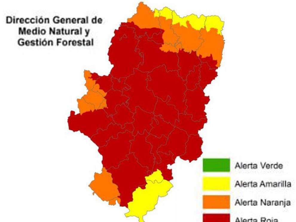 Gran parte de Aragón se encuentra en alerta roja por incendios forestales
