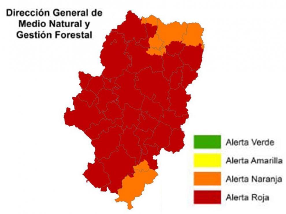 Niveles de alerta de peligro de incendios forestales en Aragón este viernes 23 de julio