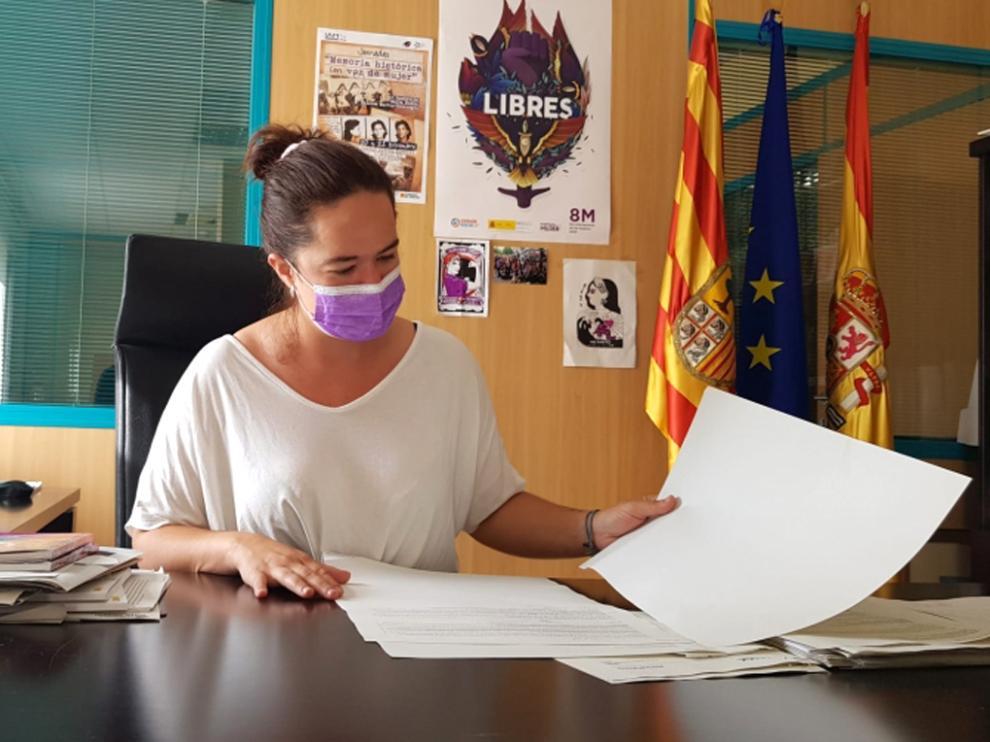 La directora del IAM, María Goikoetxea, en su despacho