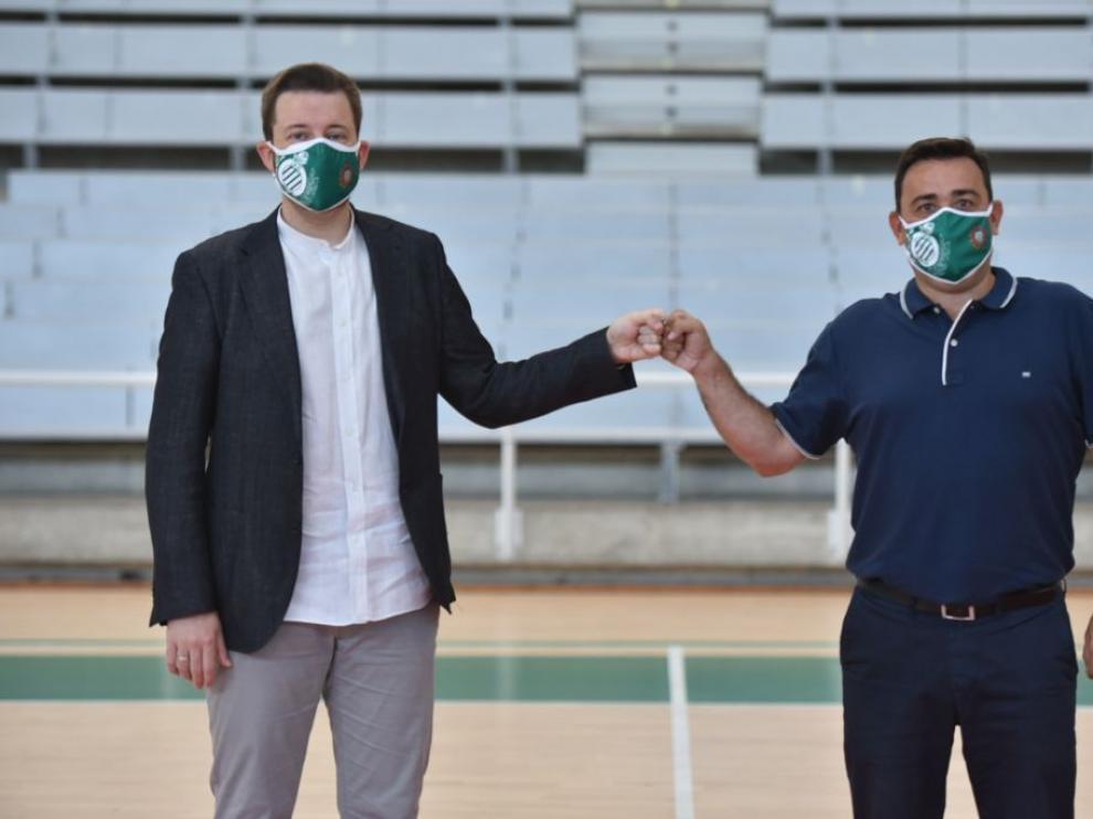 Sergio Lamúa con Antonio Orús en su presentación oficial.