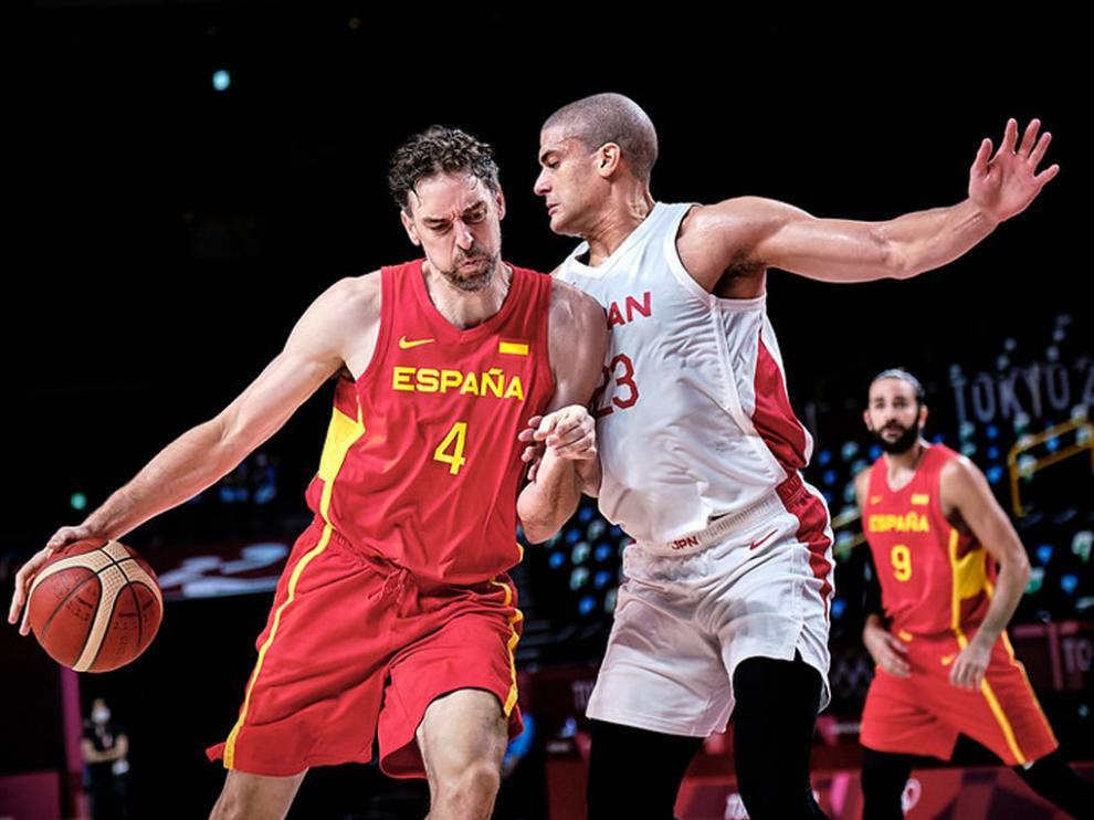 Pau Gasol, en el debut de la selección española masculina de baloncesto, que acabó con victoria sobre Japón (77-88)
