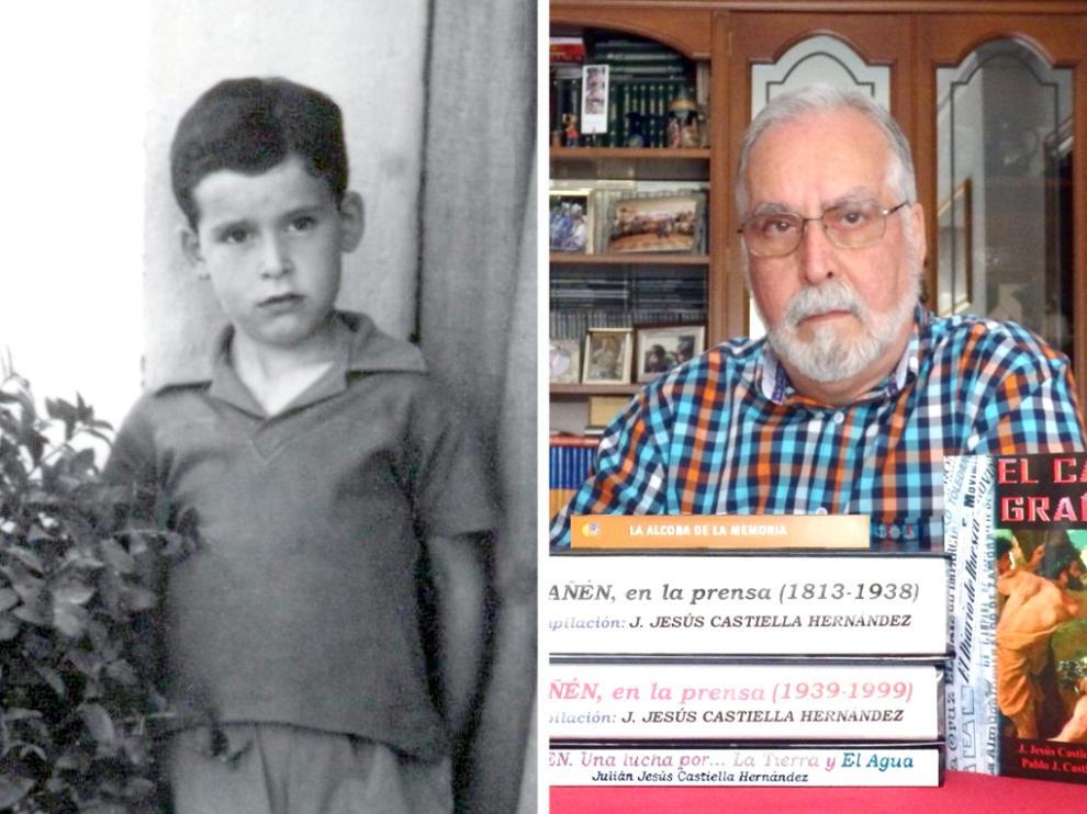 Jesús Castiella cuando era niño, en Grañén y en la actualidad posando con algunos de sus trabajos