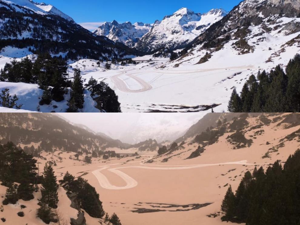 Comparación del paisaje en Llanos del Hospital  con y sin polvo