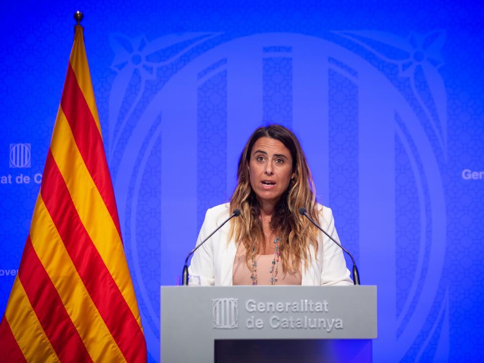 Patrícia Plaja, portavoz del Govern, durante la rueda de prensa de este martes