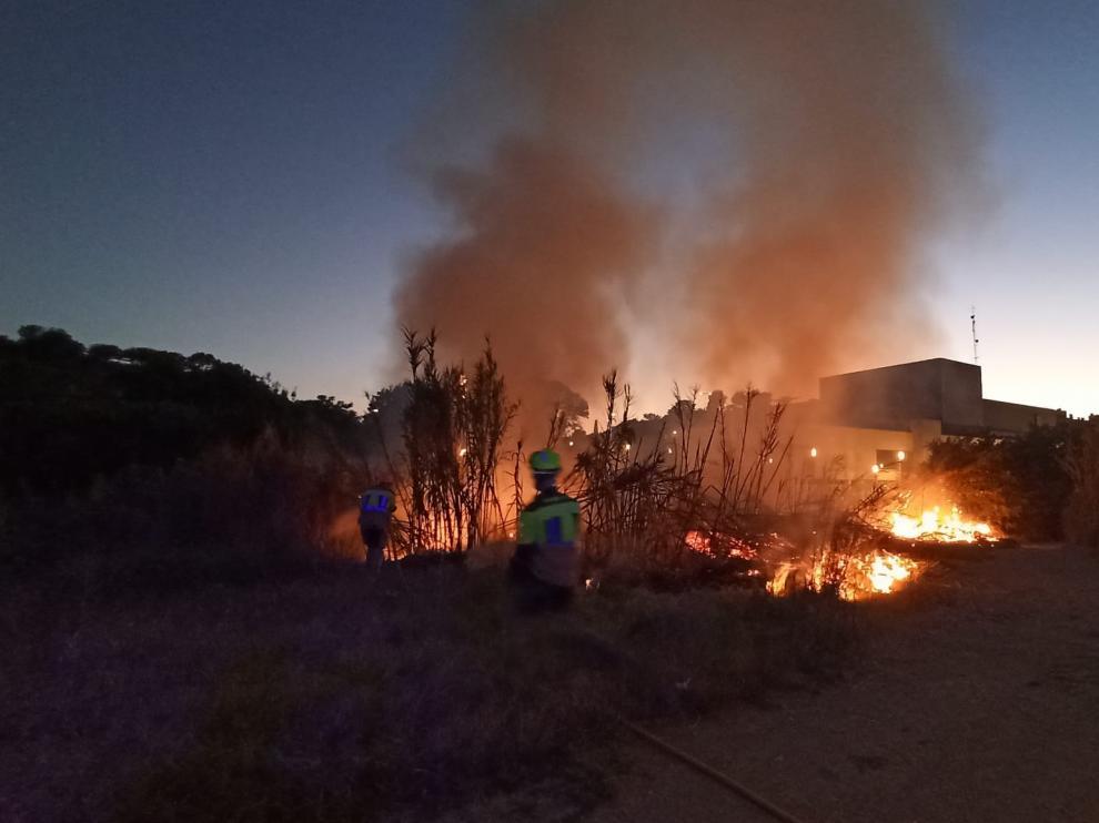 Aspecto que presentaba el incendio esta tarde en Barbastro