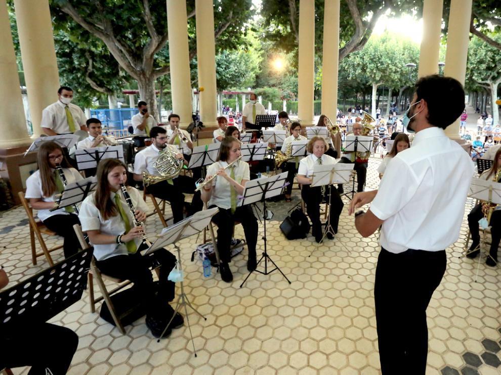 La Banda de Música de Huesca, en su concierto benéfico de este miércoles en el Kiosco del Parque Miguel Servet