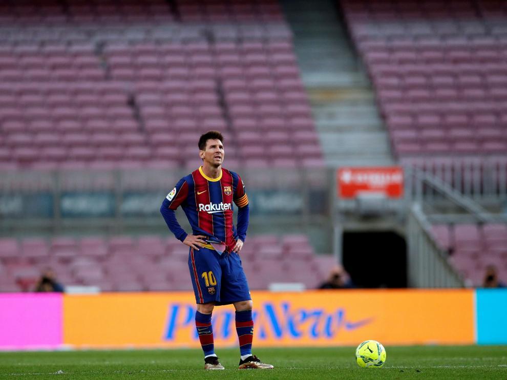 Messi, en el penúltimo partido de la pasada liga, contra el Celta.