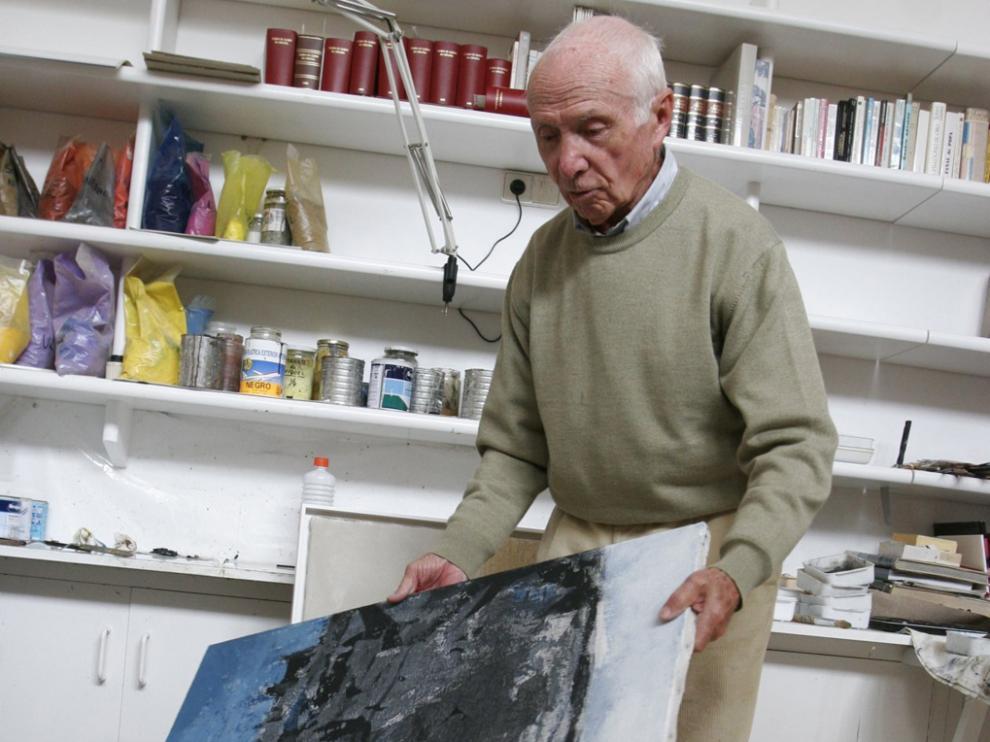 José Beulas en su estudio de Huesca
